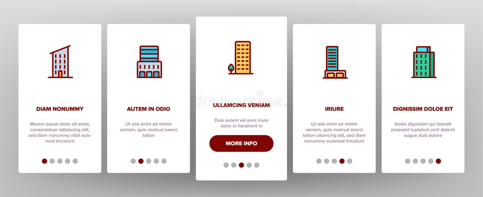 Dwelling House, Condo Vector Onboarding Mobile App Page Screen. Dwelling House, Condo Onboarding Mobile App Page Screen Vector. Condo, Apartment Buildings royalty free illustration