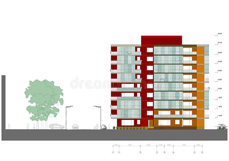 Dwelling house facade. Drawing: a modern dwelling house facade stock illustration