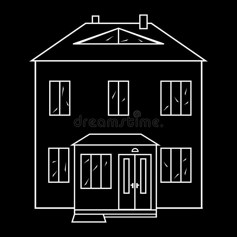 Dwelling house image. White contour on an black background stock illustration