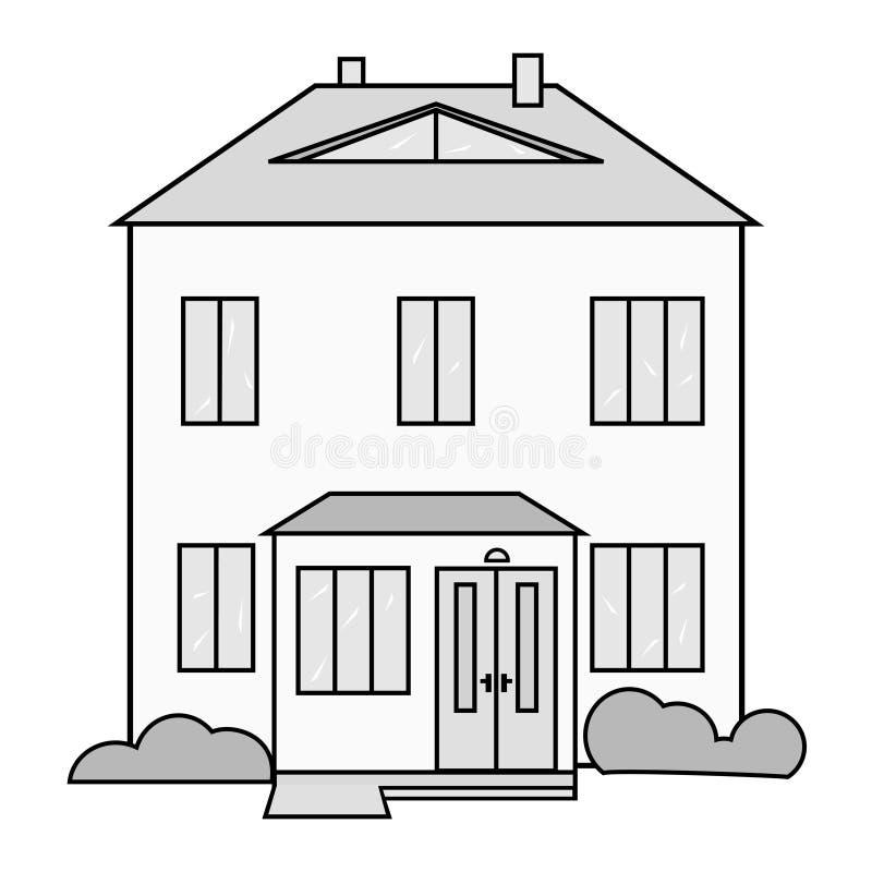 Dwelling houses icon. Dwelling house image, white-gray-black vector illustration