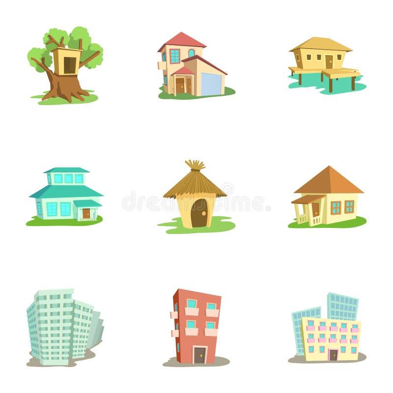 Dwelling icons set, cartoon style. Dwelling icons set. Cartoon illustration of 9 dwelling vector icons for web vector illustration