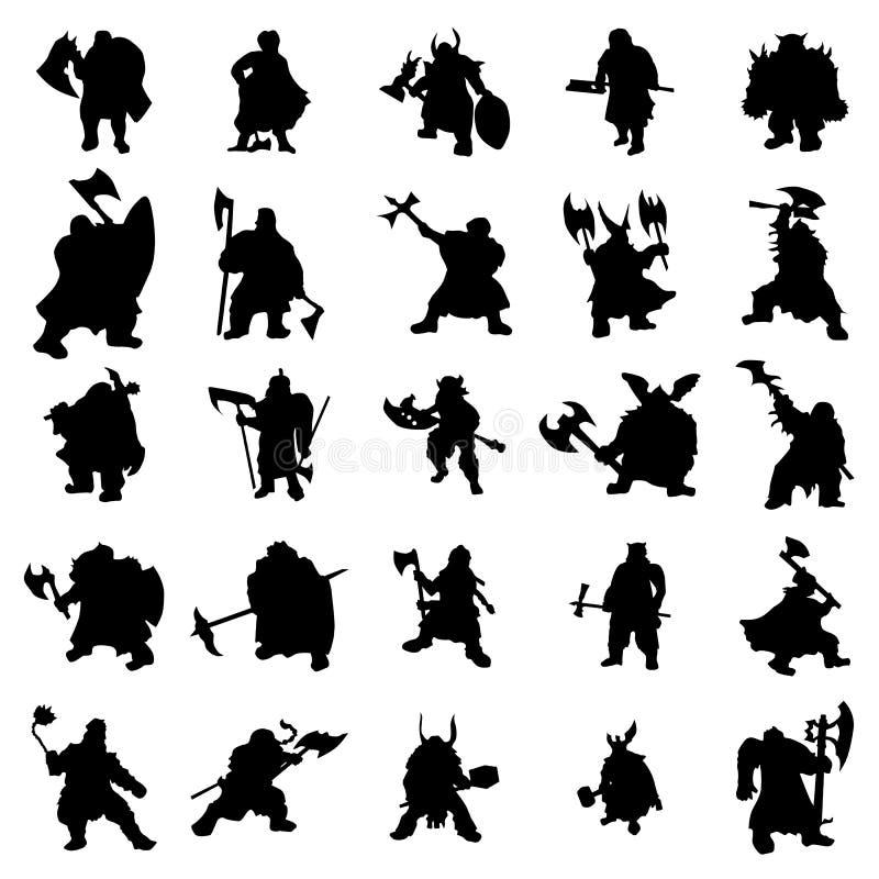 Dwerg geplaatste silhouetten vector illustratie