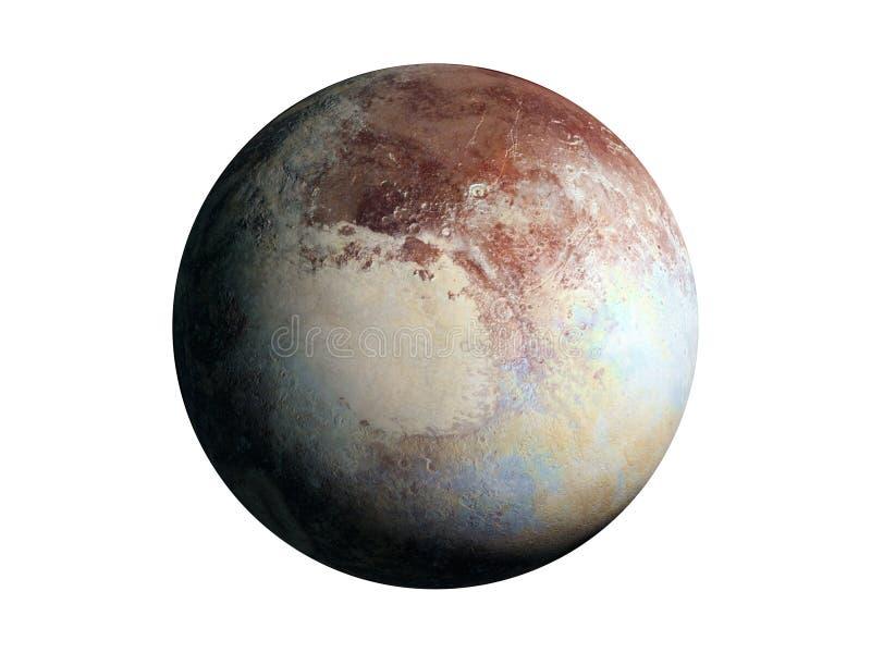 Dwergdieplaneetpluto op witte achtergrond wordt geïsoleerd stock illustratie