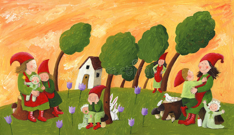 Dwergen - moeders en kinderen stock illustratie