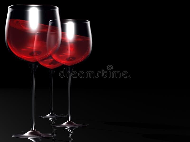 dwie czerwone wino szkła ilustracja wektor