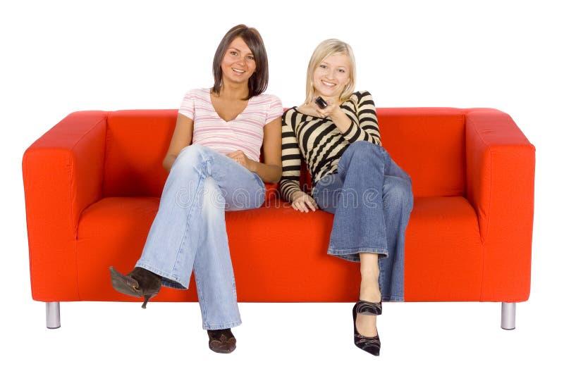dwie kobiety kanapy fotografia stock