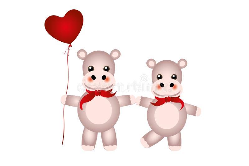 Dwie ostre hipopotamy w ręku z czerwonymi chustami i balonem serca wyizolowanym na białym tle ilustracja wektor