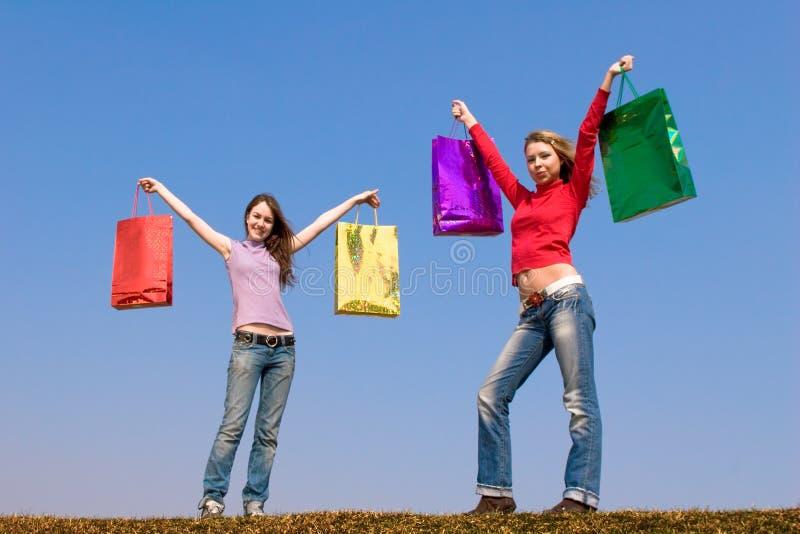 dwie paczki dziewczyn. obrazy stock