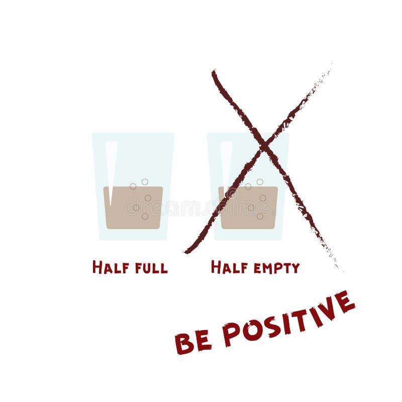 dwie szklanki Jest pozytywny ilustracji