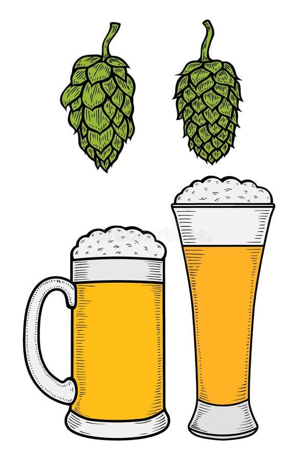 dwie szklanki piwa royalty ilustracja