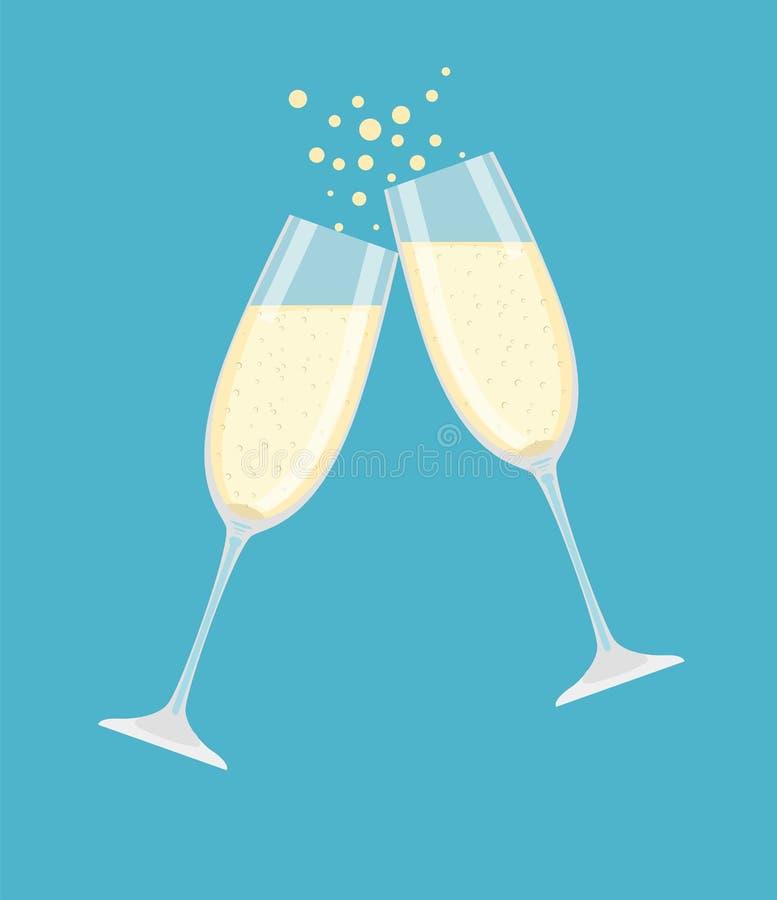 dwie szklanki szampana ilustracji