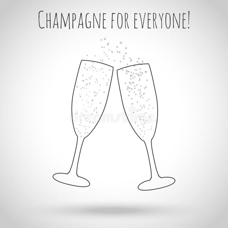 dwie szklanki szampana również zwrócić corel ilustracji wektora Kontury szkło ilustracja wektor