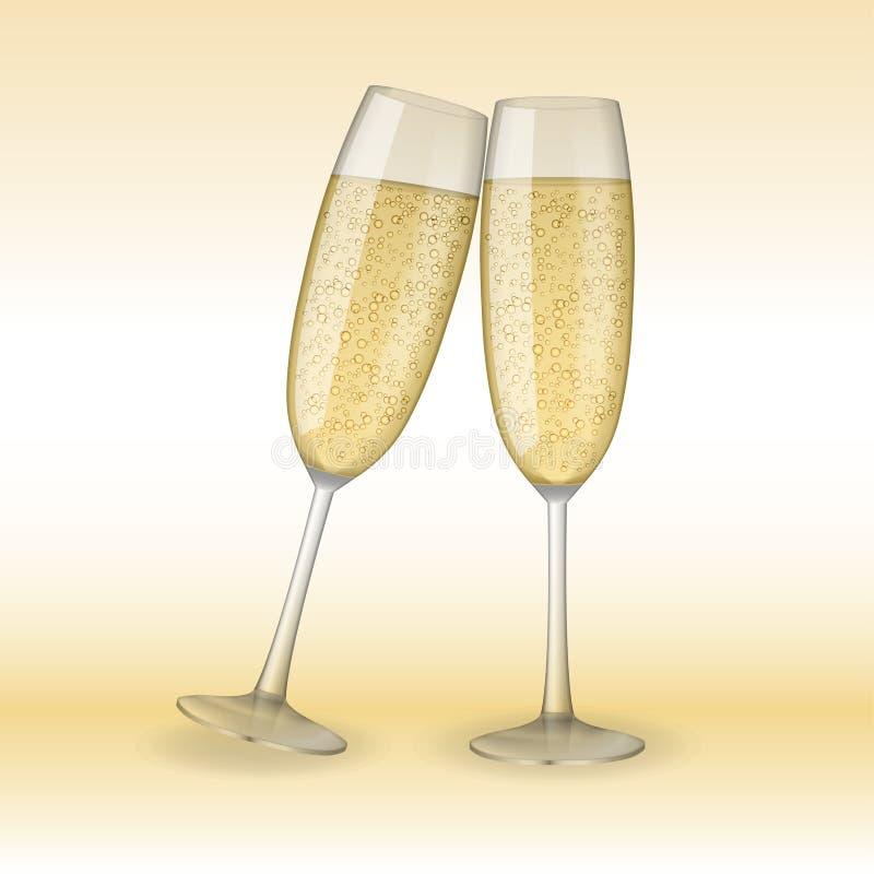 dwie szklanki szampana Wakacje, Wesoło boże narodzenia i Szczęśliwy nowego roku szampana pojęcie, Wektorowa ilustracja ilustracji