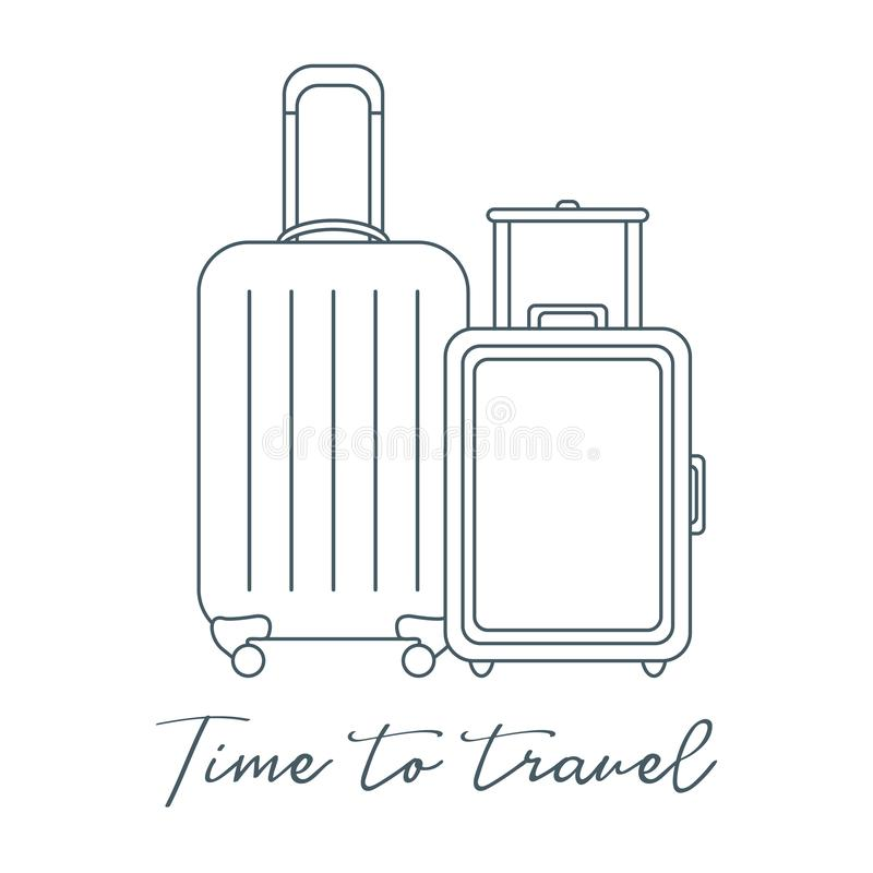 dwie walizki Lato czas, wakacje leisure ilustracji