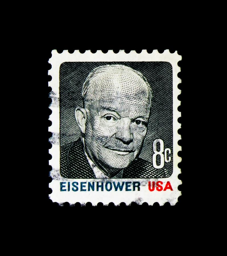 Dwight Eisenhower, 1970-1974 Regular Issue serie, circa 1971. MOSCOW, RUSSIA - NOVEMBER 24, 2017: A stamp printed in USA shows Dwight Eisenhower, 1970-1974 royalty free stock images