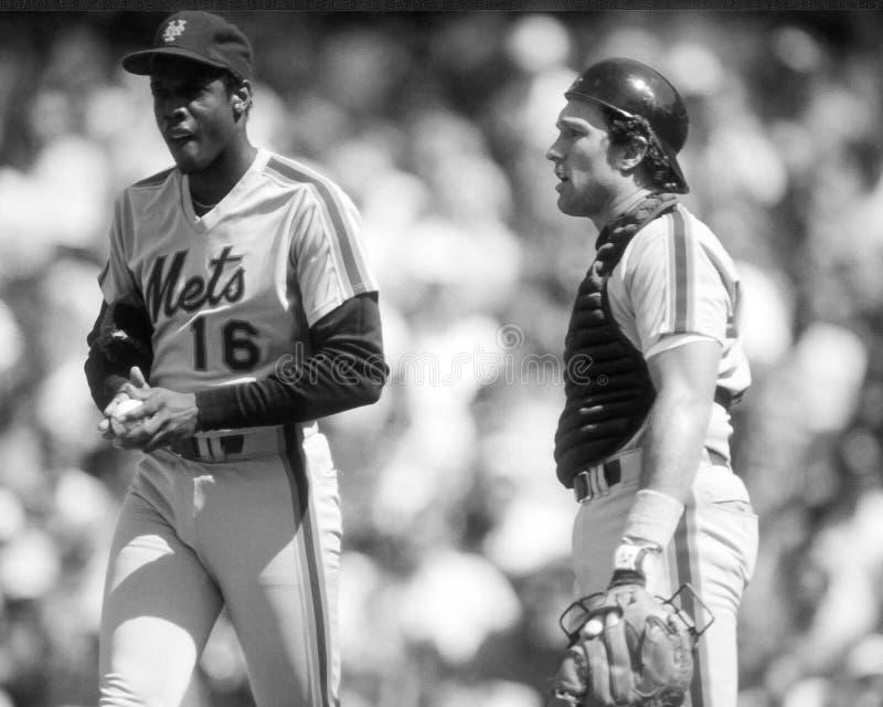 Dwight Gooden en Gary Carter stock afbeelding