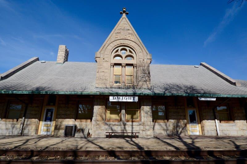 Dwight Railroad Depot royaltyfri fotografi