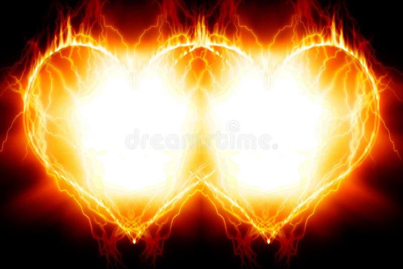 Dwoiści płonący serca ilustracja wektor