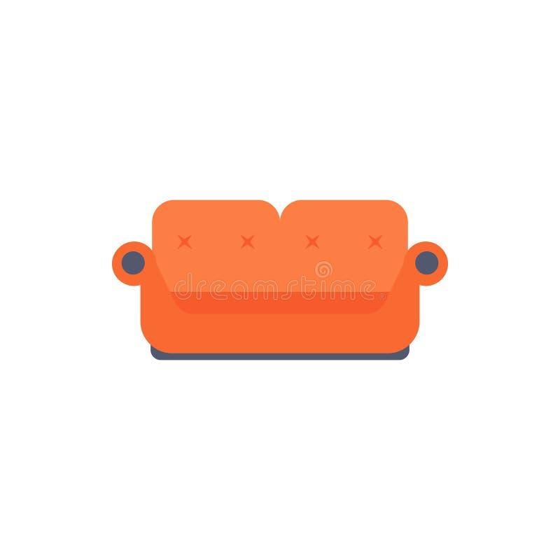 dwoista kanapy mieszkania ikona Wnętrze lub Izbowy projekta szablon w mieszkanie stylu dla mobilnych apps pojęcia i sieci Szczegó ilustracji