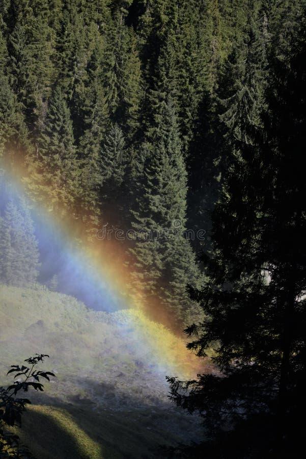 Dwoista tęcza nad Krimmler siklawami zdjęcia stock