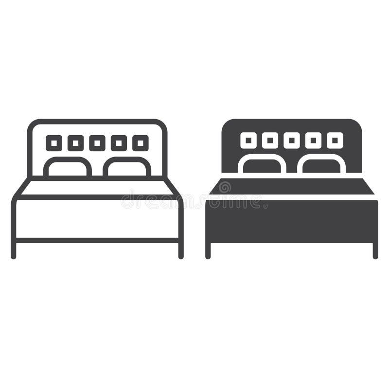 Dwoistego łóżka linia kreskowa, stała ikona, kontur i piktogram odizolowywający na bielu, wypełniający wektoru znaka, liniowego i royalty ilustracja