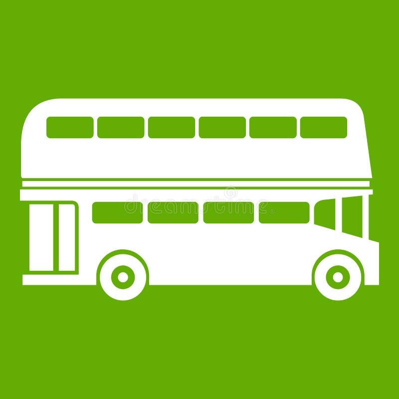 Dwoistego decker autobusu ikony zieleń ilustracji
