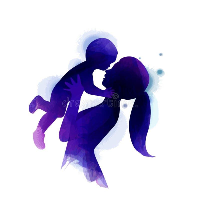 Dwoistego ujawnienia ilustracja Boczny widok Szcz??liwa mama z dziecko sylwetk? plus abstrakcjonistyczny wodny kolor maluj?cy dzi royalty ilustracja