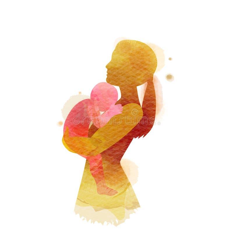 Dwoistego ujawnienia ilustracja Boczny widok Szcz??liwa mama z dziecko sylwetk? plus abstrakcjonistyczny wodny kolor maluj?cy dzi ilustracji