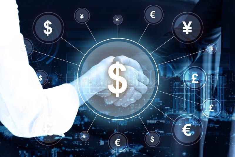 Dwoistego ujawnienia ludzie biznesu trząść ręki i pieniądze networki obrazy stock