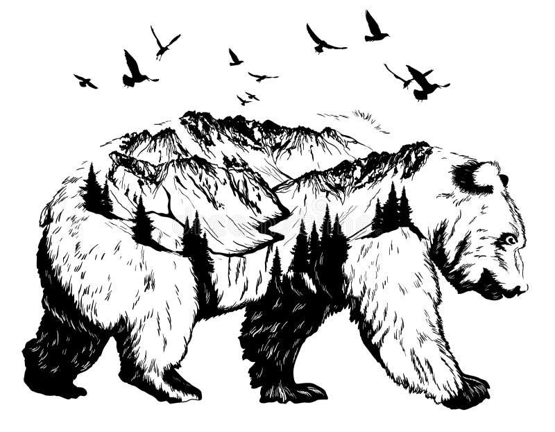 Dwoistego ujawnienia, niedźwiedzia i góry krajobraz, ilustracja wektor