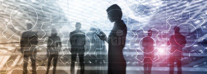 Dwoistego ujawnienia przekładni mechanizm na zamazanym tle Biznesowa i przemysłowa proces automatyzacja royalty ilustracja