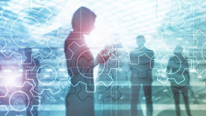 Dwoistego ujawnienia przekładni mechanizm na zamazanym tle Biznesowy i przemysłowy proces automatyzaci pojęcie zdjęcia stock