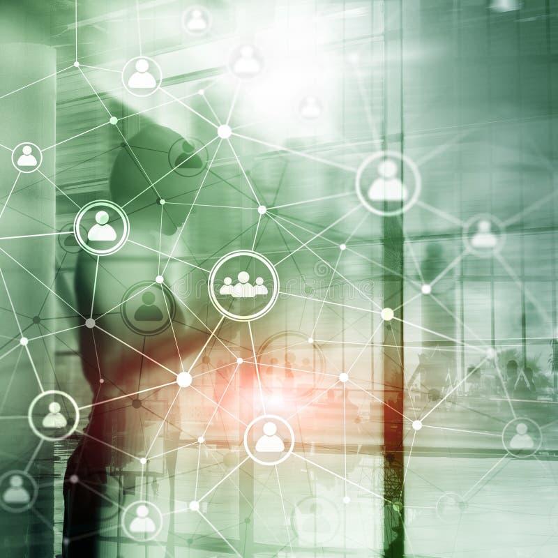 Dwoistego ujawnienia sieci struktury HR działy zasobów ludzkich zarządzanie i rekrutaci pojęcie ludzie - ilustracji