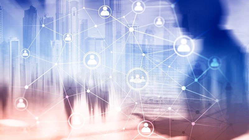 Dwoistego ujawnienia sieci struktury HR działy zasobów ludzkich zarządzanie i rekrutaci pojęcie ludzie - royalty ilustracja