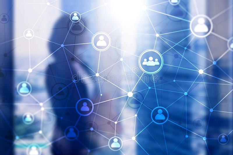 Dwoistego ujawnienia sieci struktury ludzie HR - Działy zasobów ludzkich zarządzanie i rekrutaci pojęcie ilustracji
