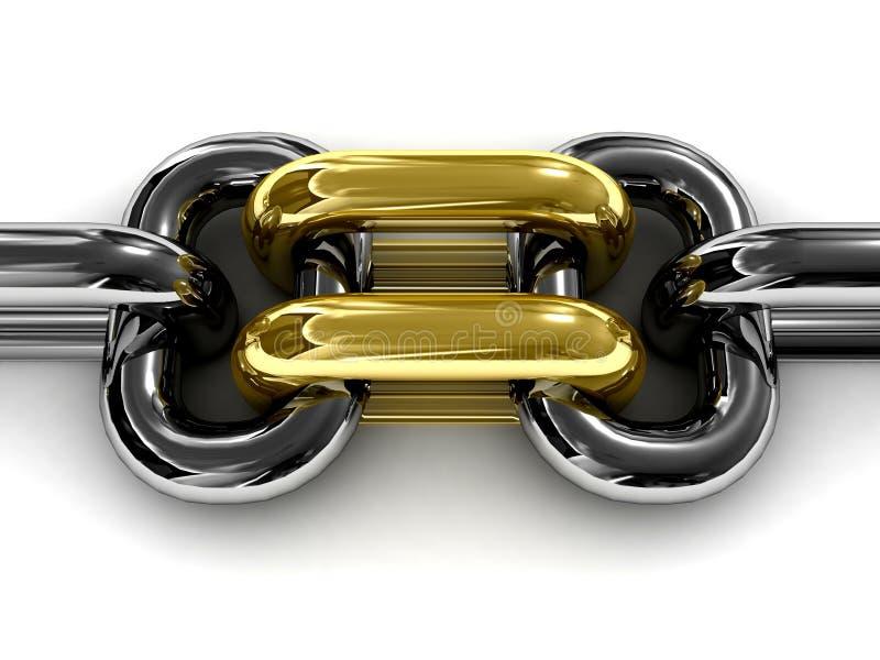 Dwoistego złota łańcuszkowy połączenie. ilustracji
