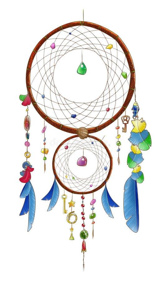 Dwoisty dreamcatcher z błękitnymi piórkami royalty ilustracja