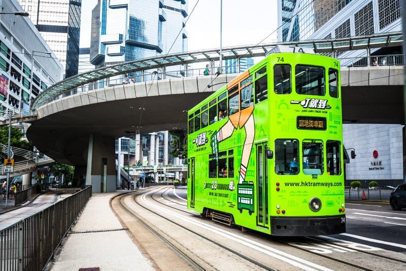 dwoisty pokładu tramwaj w Hong Kong zdjęcia royalty free