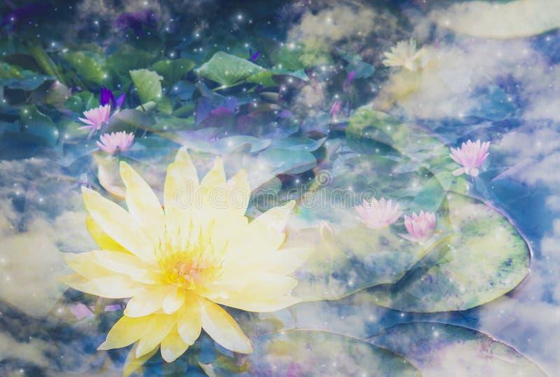 Dwoisty ujawnienie - abstrakcjonistyczny lotosowy kwiat w niebie, metafora spokój od joga medytacją purify umysł, Z pojęciem ilustracja wektor