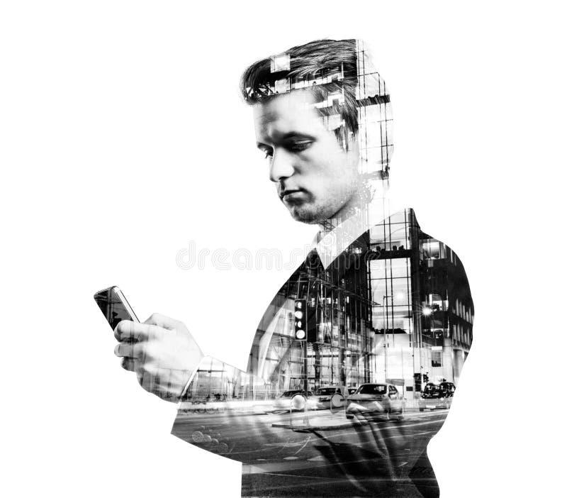 Download Dwoisty Ujawnienie Biznesmen Zdjęcie Stock - Obraz złożonej z komunikacja, światła: 65226382