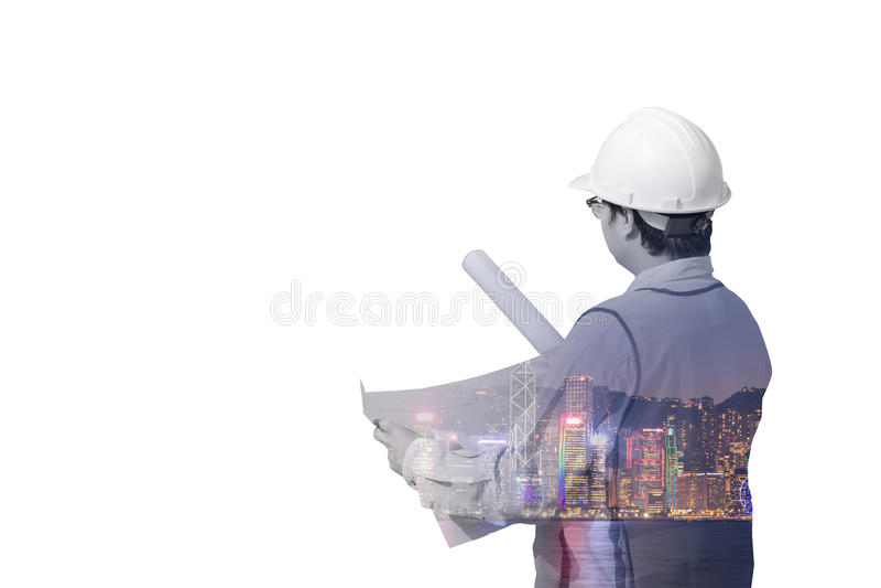 Dwoisty ujawnienie budowa inżynier i nowożytny śródmieście obraz stock