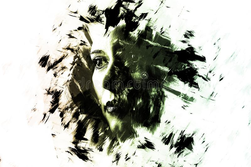 Dwoisty ujawnienie młoda dziewczyna kreatywnie portret Sztuka Dramatyczna obrazy stock
