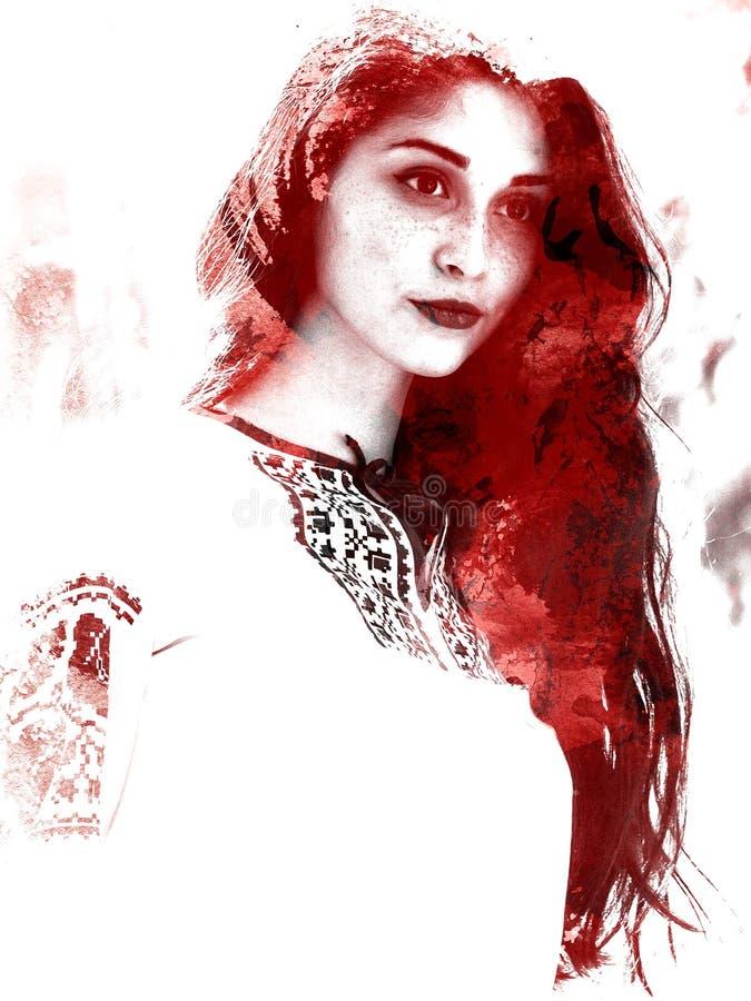 Dwoisty ujawnienie młoda piękna dziewczyna Malujący portret żeńska twarz Stubarwny obrazek odizolowywający na białym tle f royalty ilustracja