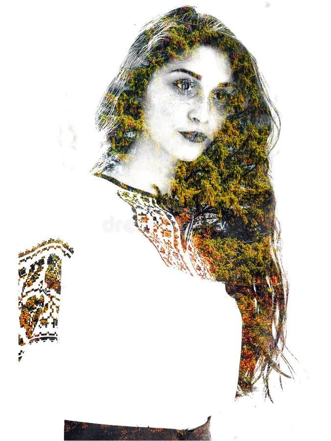 Dwoisty ujawnienie młoda piękna dziewczyna wśród drzew i liści Portret atrakcyjna dama łączył z fotografią drzewo zdjęcia royalty free