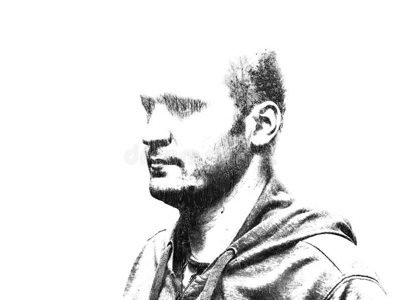 Dwoisty ujawnienie portret mężczyzna z liśćmi i gałąź drzewo Kreatywnie ilustracja mężczyzna ` s portret ilustracja wektor