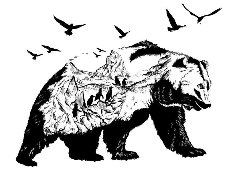 Dwoisty ujawnienie, słup i lodowowie, niedźwiadkowy i biegunowy ilustracji