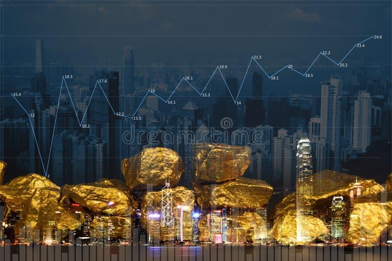 Dwoisty ujawnienie stos złociste bryłki z miasta tłem i pieniężnym wykresem, biznesowy pojęcie zdjęcia royalty free