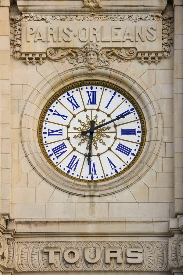 Dworca zegar tours Francja fotografia royalty free