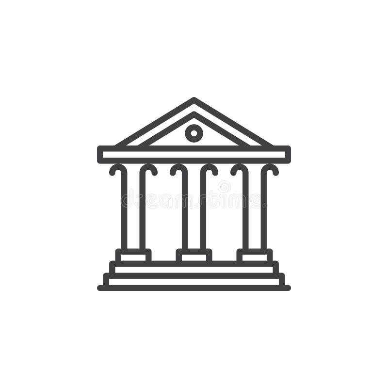 Dworska budynek linii ikona, konturu wektoru znak, liniowy piktogram odizolowywający na bielu ilustracja wektor