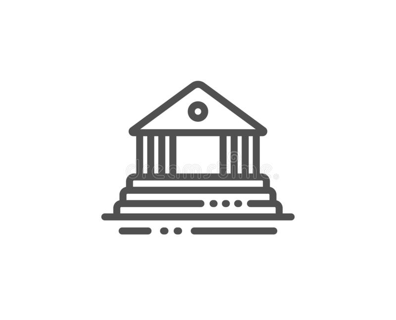 Dworska budynek linii ikona miasto architektury znak Gmach sądu, rząd wektor royalty ilustracja
